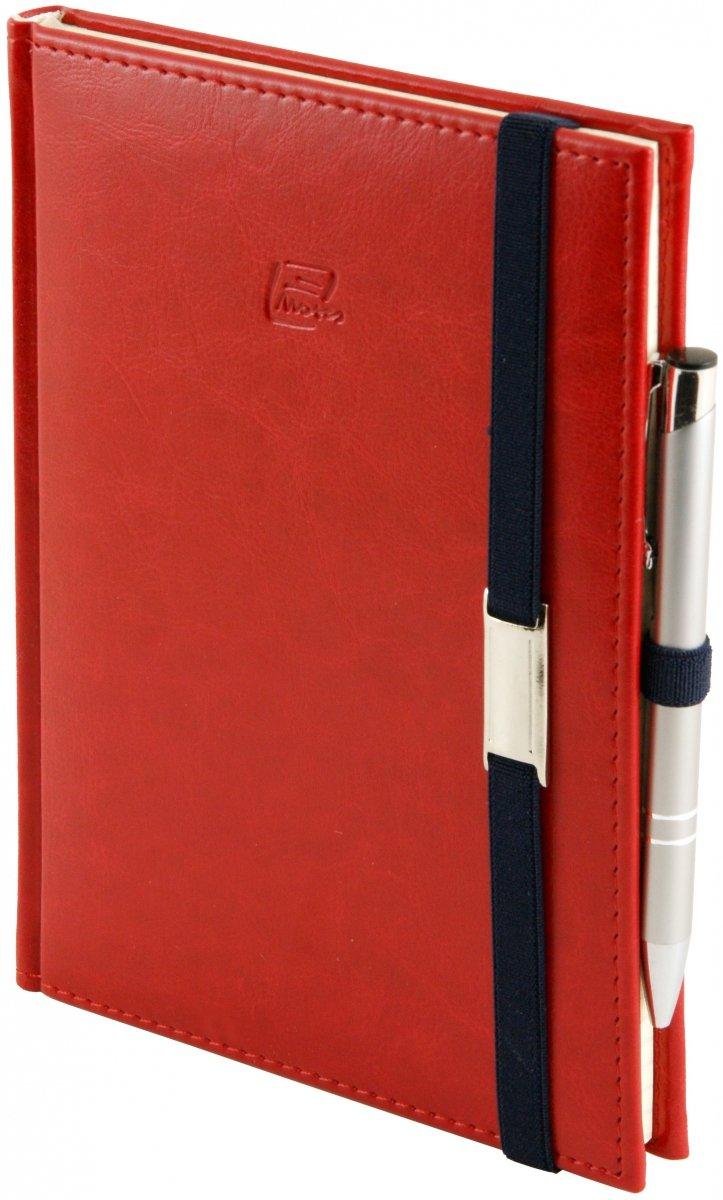 Notes A4 z długopisem zamykany na gumkę z blaszką - papier biały w kratkę *** - oprawa Nebraska czerwona (gumka granatowa)