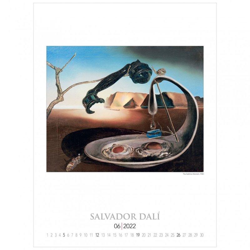 Kalendarza ścienny wieloplanszowy z reprodukcjami obrazów Salvadora Dali - czerwiec 2022