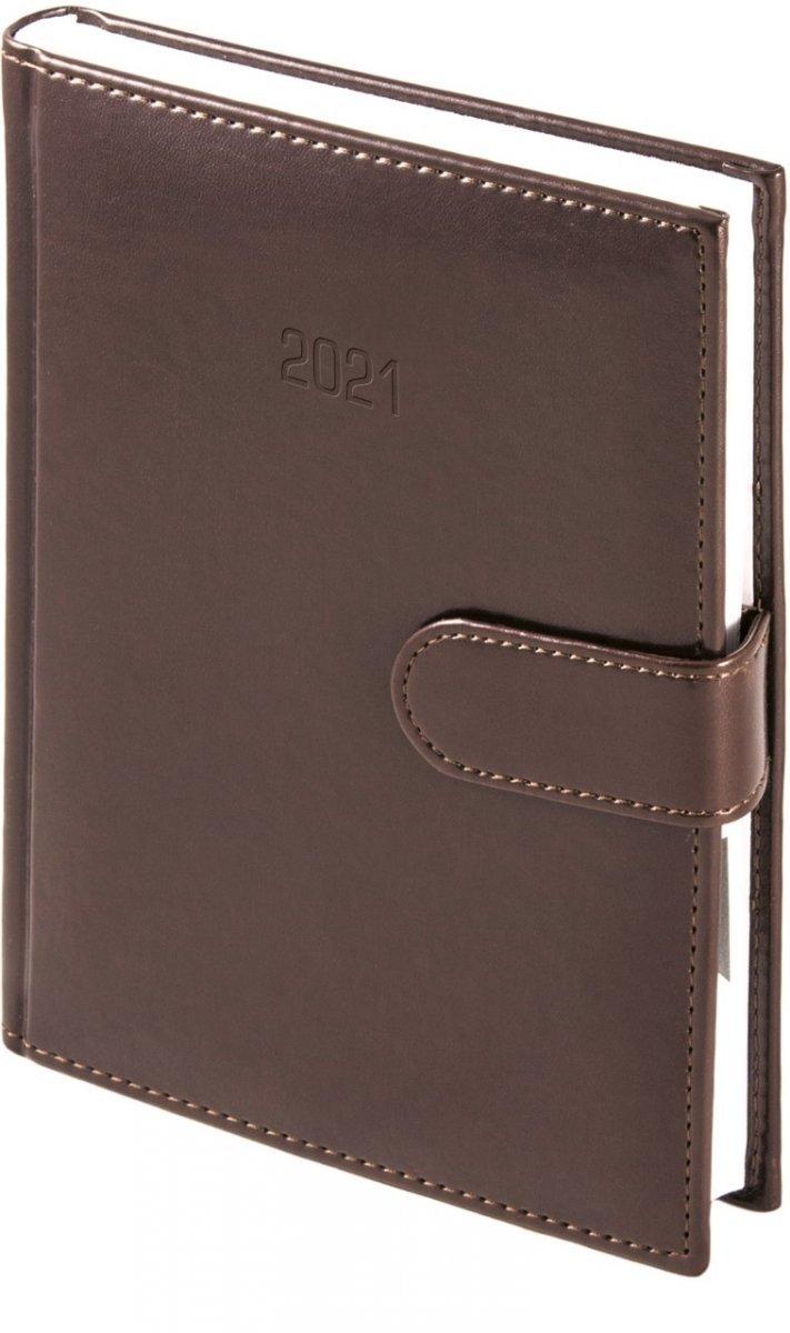 Kalendarz książkowy 2021 A4 tygodniowy papier biały drukowane registry oprawa MAGNESIAN - czekoladowy oprawa skóropodobna zamykana na magnes