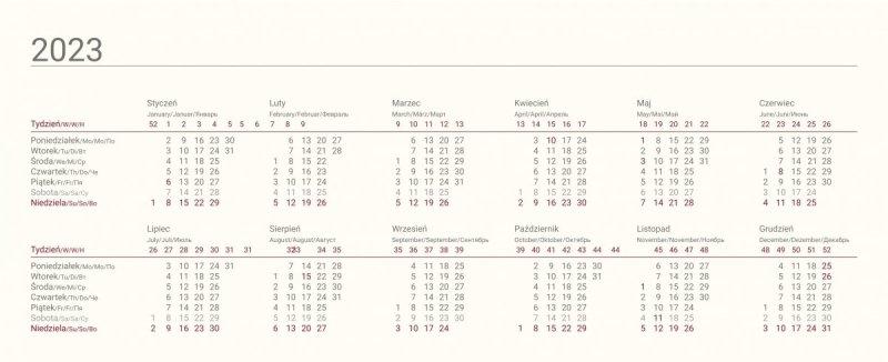 Kalendarium kalendarza biurkowego na rok szkolny 2021/2022 ze skróconym kalendarium