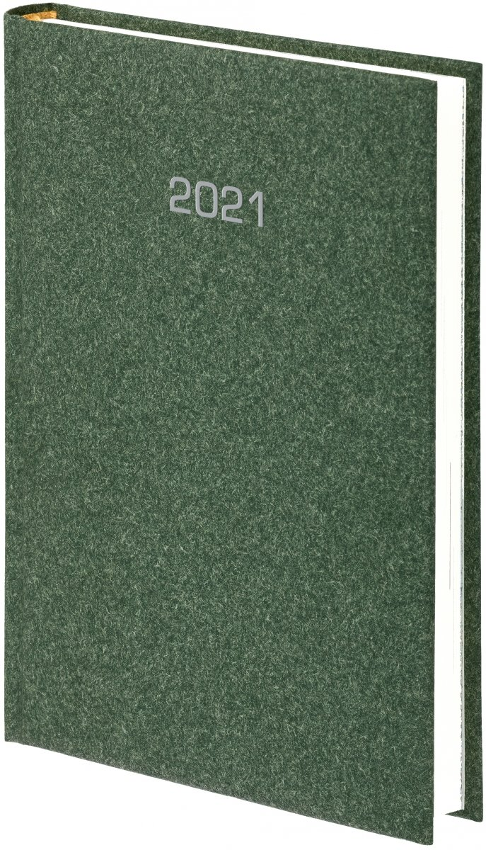 Kalendarz książkowy 2021 B5 tygodniowy oprawa NATURA zielona