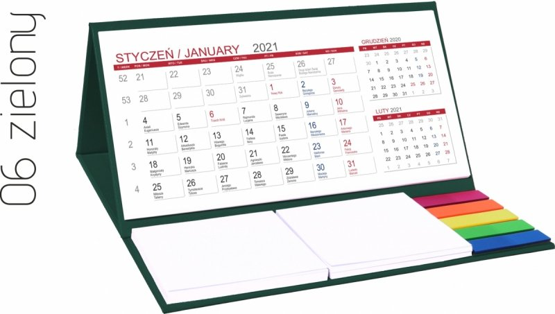 Kalendarz biurkowy z notesami i znacznikami MIDI 3-miesięczny 2021 zielony