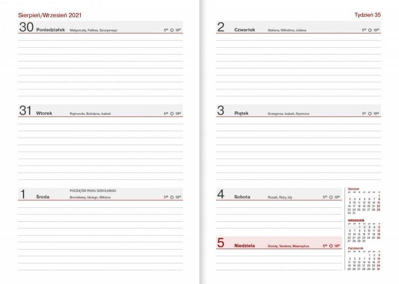 Kalendarz nauczyciela na rok szkolny 2021/2022 format A5 układ tygodniowy