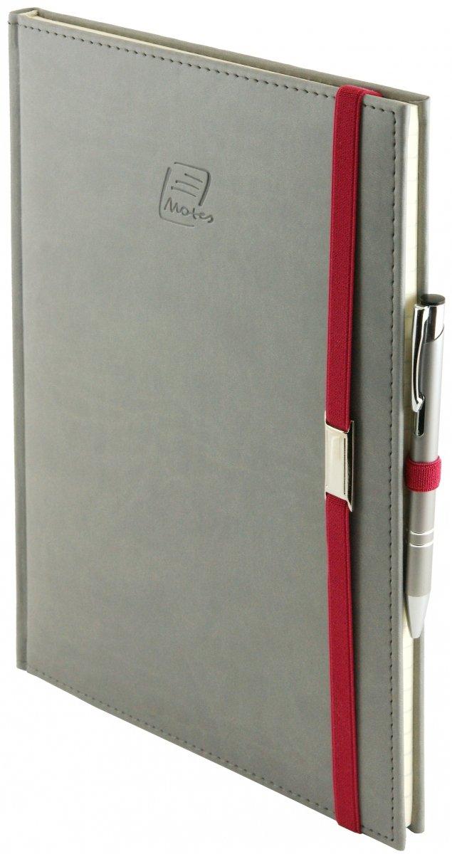 Notes A5 z długopisem zamykany na gumkę z blaszką  oprawa Vivella szara - okładka
