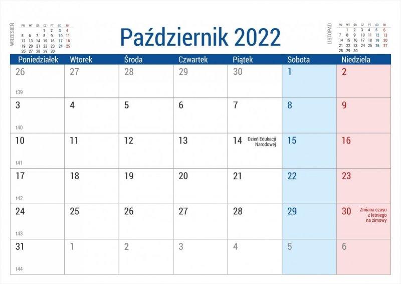 Kalendarz biurkowy stojący na podstawce PLANO 2022 seledynowy