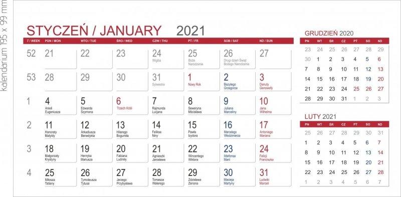 Kalendarium MIDI 3-miesięczny 2021