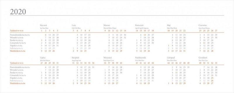 Kalendarz biurkowy EXCLUSIVE PLUS na rok szkolny 2019/2020 -skrócone kalendarium roku 2020