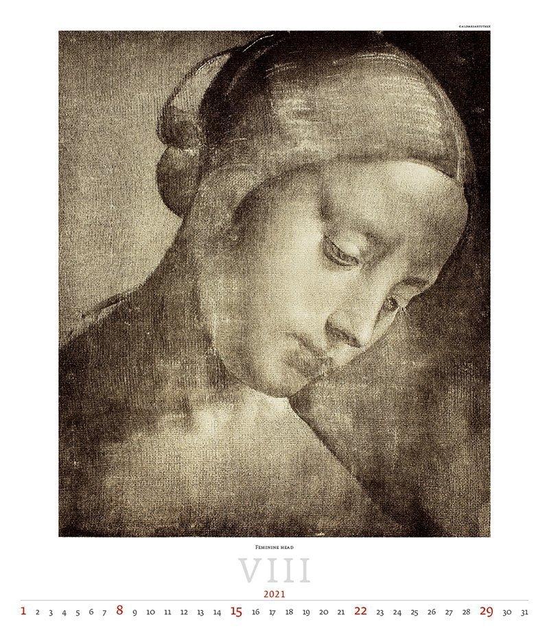 Kalendarz ścienny wieloplanszowy Leonardo da Vinci 2021 - exclusive edition  - sierpień 2021