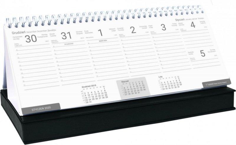 Kalendarz biurkowy z piórnikiem 2021 czarny