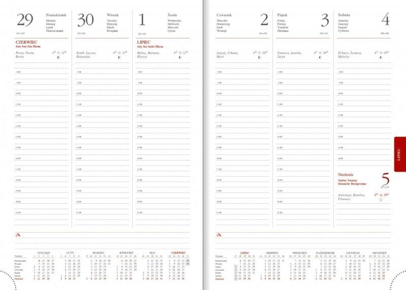 Kalendarz książkowy 2020 A4 tygodniowy papier biały perforacja