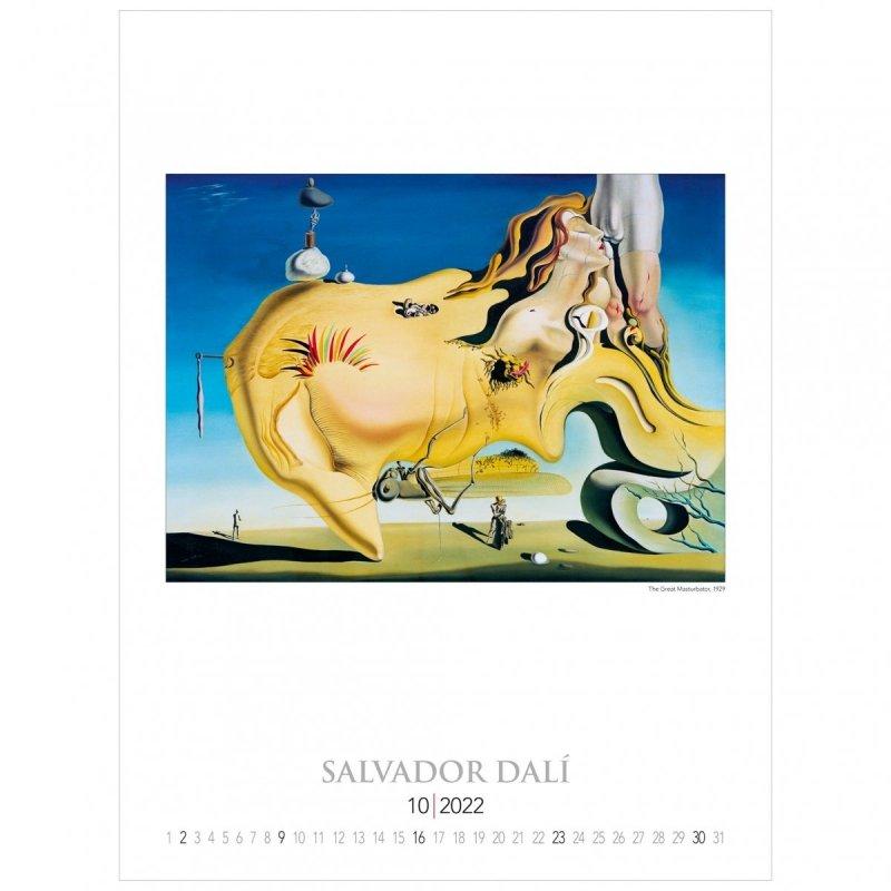 Kalendarza ścienny wieloplanszowy z reprodukcjami obrazów Salvadora Dali - październik 2022