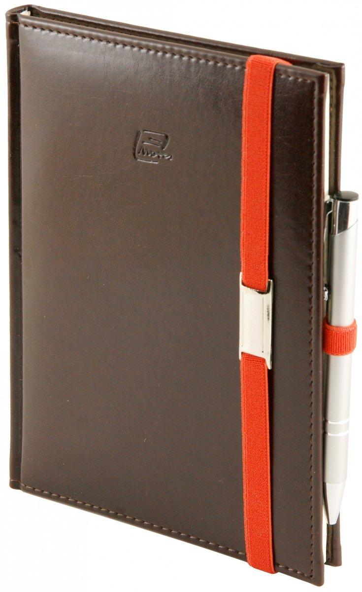 Notes A5 z długopisem zamykany na gumkę z blaszką  oprawa Nebraska czekoladowa - okładka