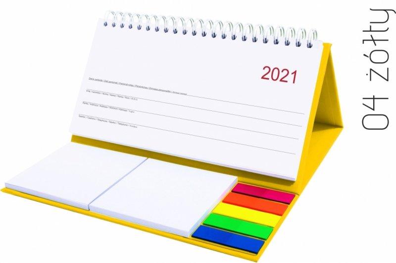 Kalendarz biurkowy z notesami i znacznikami MIDI TYGODNIOWY 2021 żółty