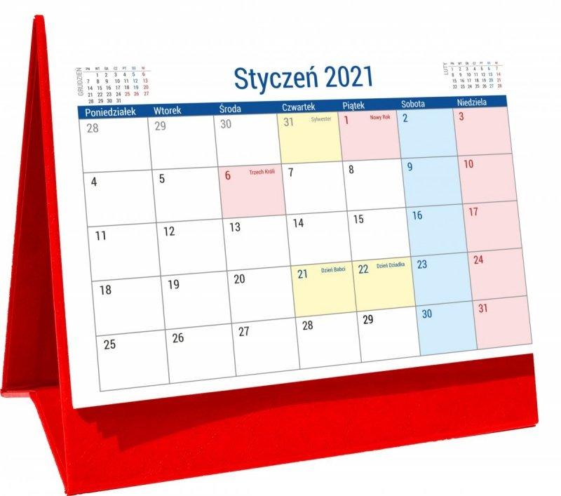 Kalendarz biurkowy stojący na podstawce PLANO 2021 czerwony