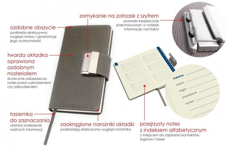 Notes A6 zamykany na zatrzask szyfrowany w ozdobnej twardej okleinie