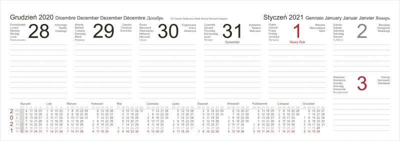 Kalendarz biurkowy stojący POZIOMY TYGODNIOWY 2021 - kalendarium