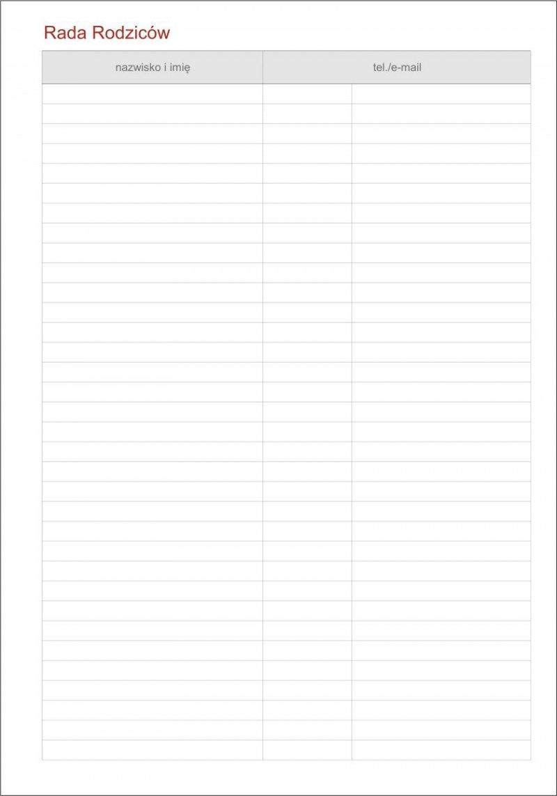 Kalendarz dyrektora - tabela Rada rodziców