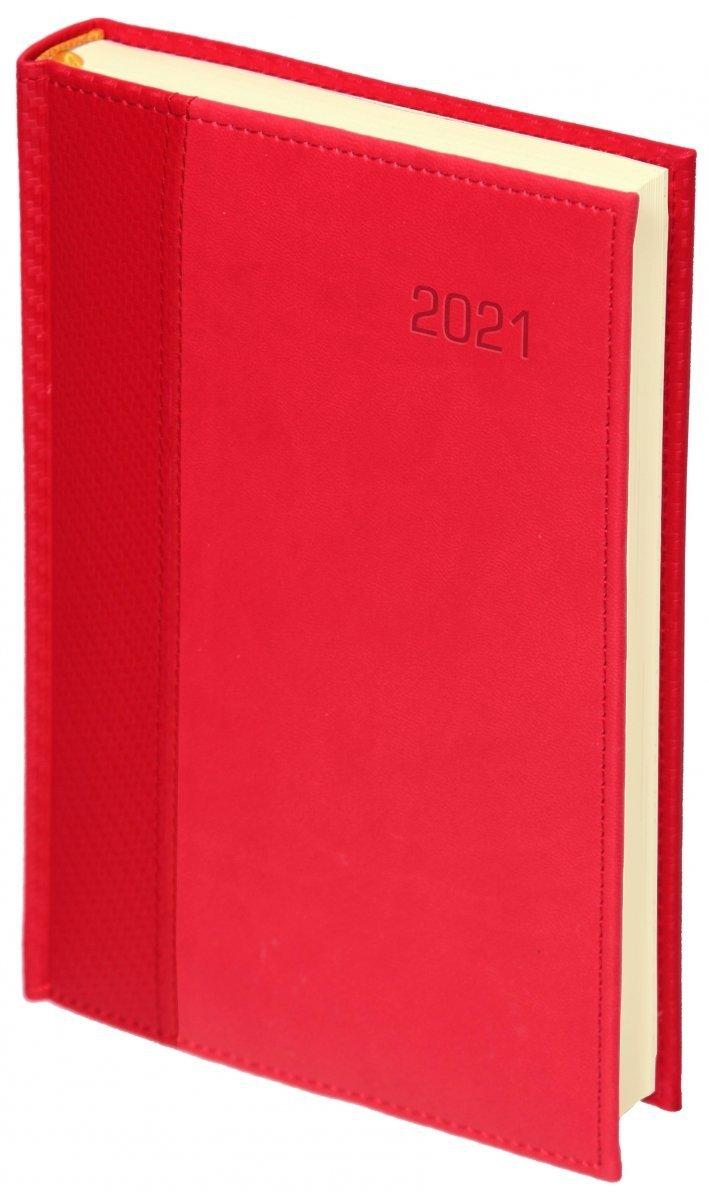 Kalendarz książkowy 2021 A4 tygodniowy oprawa CARBON - oprawa przeszywana - kolor czerwony
