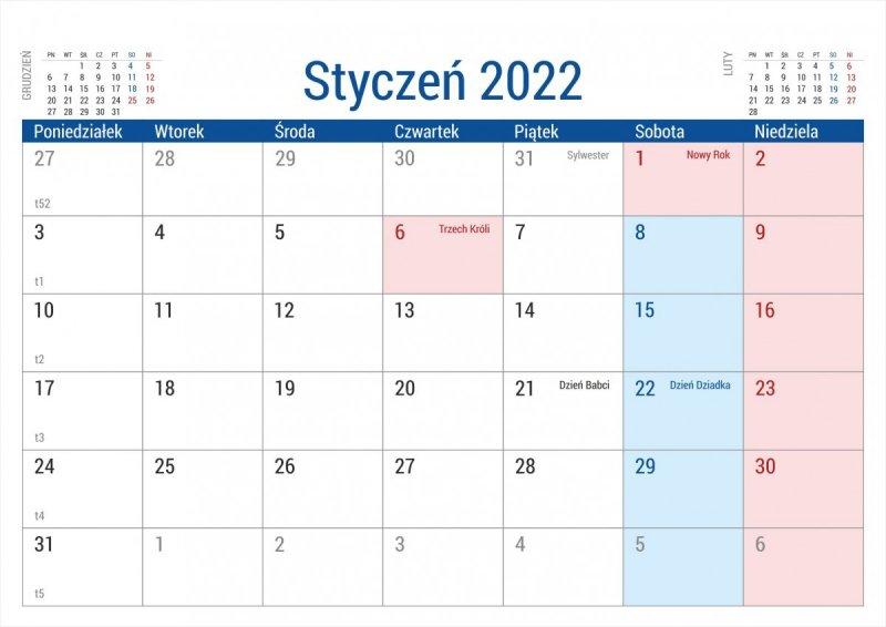 Kalendarz biurkowy stojący na podstawce PLANO 2022 bordowy