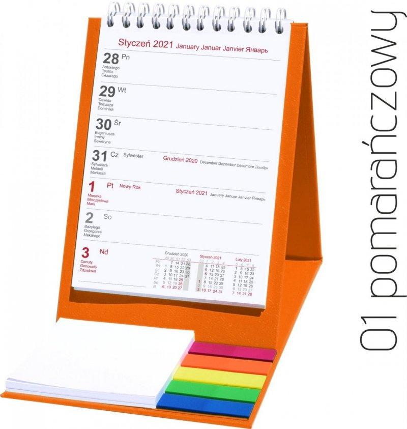 Kalendarz biurkowy z notesem i znacznikami TOP tygodniowy 2021 pomarańczowy