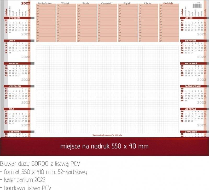 Biuwar duży A2 52-kartkowy BORDO Z LISTWĄ PCV 2022 z opisem