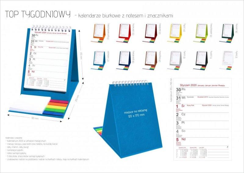 Kalendarz biurkowy z notesem i znacznikami TOP tygodniowy 2020