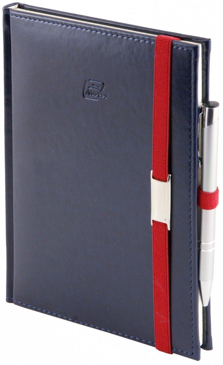 Notes A4 z długopisem zamykany na gumkę z blaszką - papier biały w kratkę *** - oprawa Nebraska granatowa (gumka czerwona)