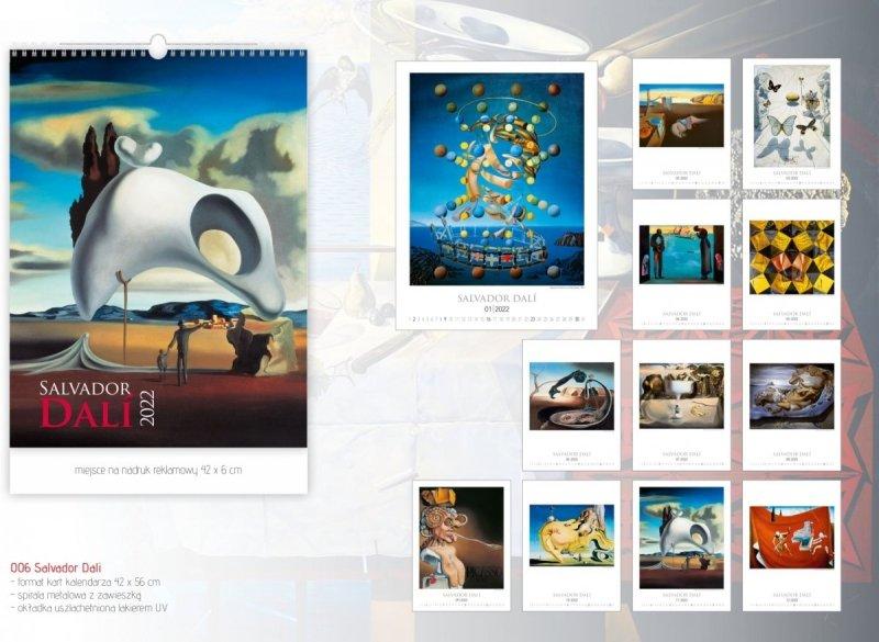 Kalendarza ścienny wieloplanszowy z reprodukcjami obrazów Salvadora Dali - strona z katalogu 2022