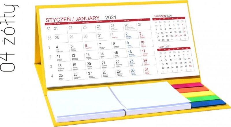 Kalendarz biurkowy z notesami i znacznikami MIDI 3-miesięczny 2021 żółty