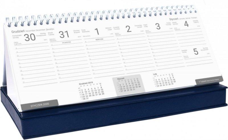 Kalendarz biurkowy z piórnikiem 2021 granatowy