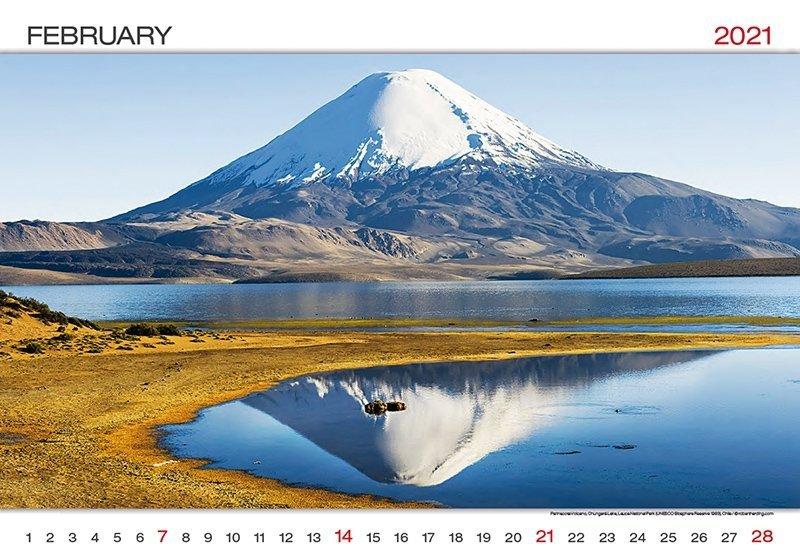Kalendarz ścienny wieloplanszowy World Wonders 2021 - luty 2021