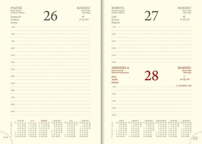 Kalendarium A5 dzienne papier chamois drukowane registry