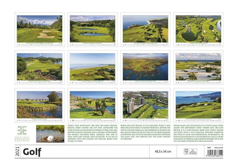 Kalendarz ścienny wieloplanszowy Golf 2021 - exclusive edition - tylna okładka