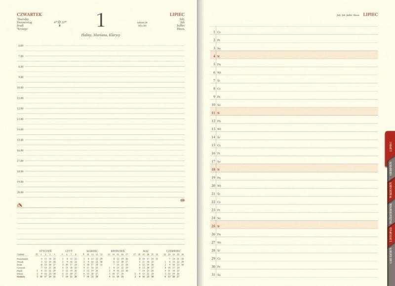 Kalendarz książkowy na rok 2021 format A4 układ dzienny papier chamois wycinane registry