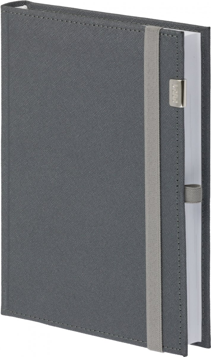 Kalendarz książkowy 2021 A4 tygodniowy oprawa zamykana na gumkę Rossa z metalową datą - kolor szary