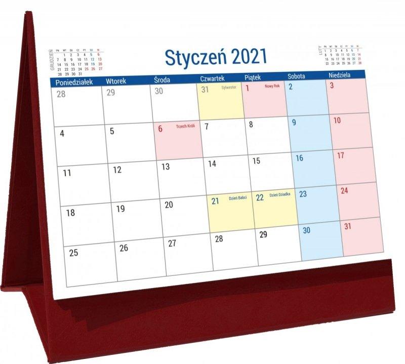 Kalendarz biurkowy stojący na podstawce PLANO 2021 bordowy