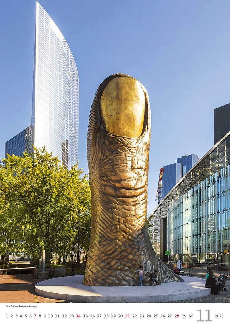 Kalendarz ścienny wieloplanszowy Modern Statues 2021 - listopad 2021