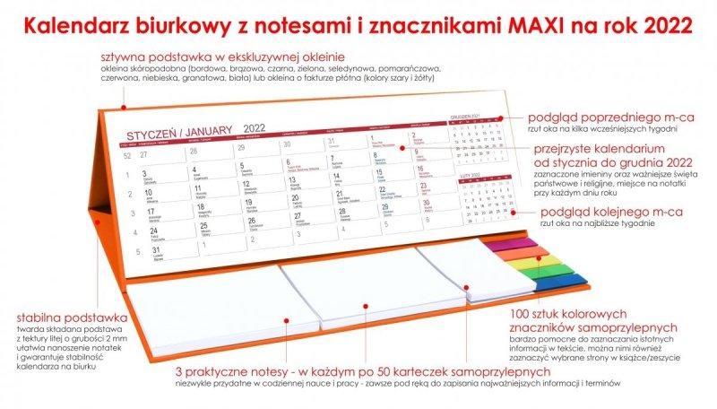 Kalendarz biurkowy z notesami i znacznikami MAXI 2022 pomarańczowy