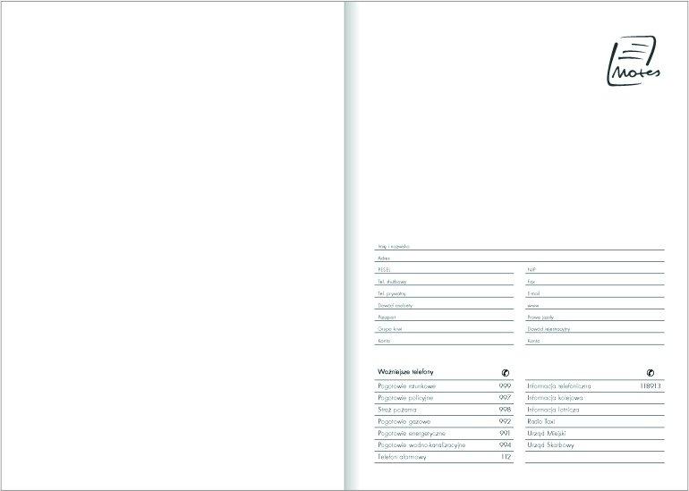Notes A4 papier biały w kratkę - strona tytułowa