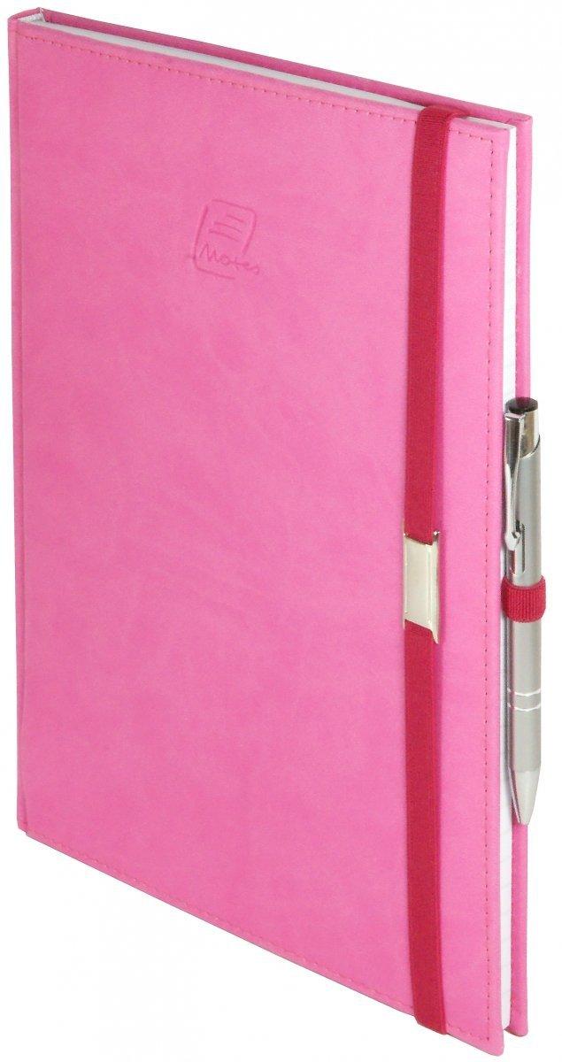 Notes A4 z długopisem zamykany na gumkę z blaszką - papier biały w kratkę *** - oprawa Vivella różowa (gumka różowa)