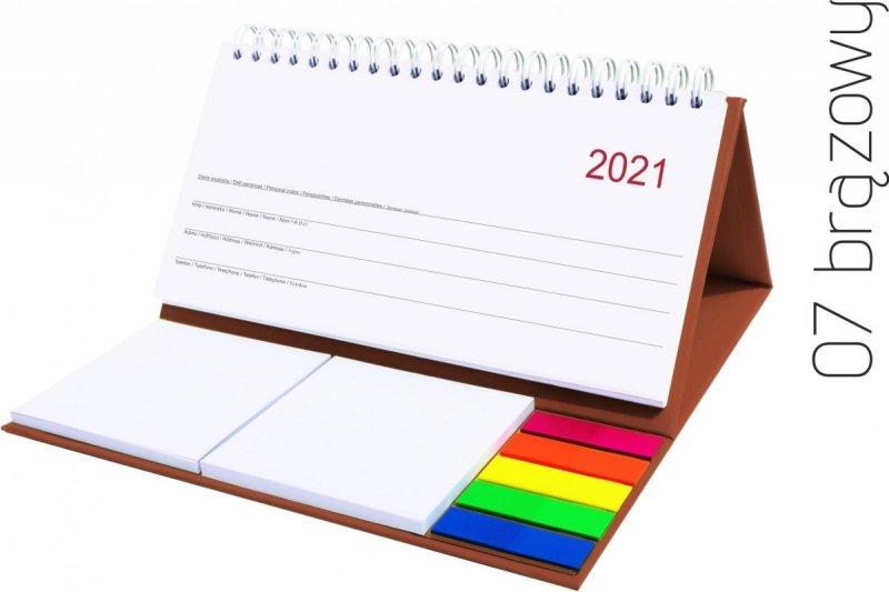 Kalendarz biurkowy z notesami i znacznikami MIDI TYGODNIOWY 2021 brązowy