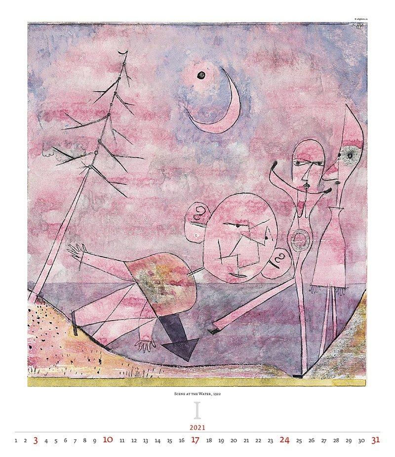 Kalendarz ścienny wieloplanszowy Paul Klee 2021 - exclusive edition - styczeń 2021