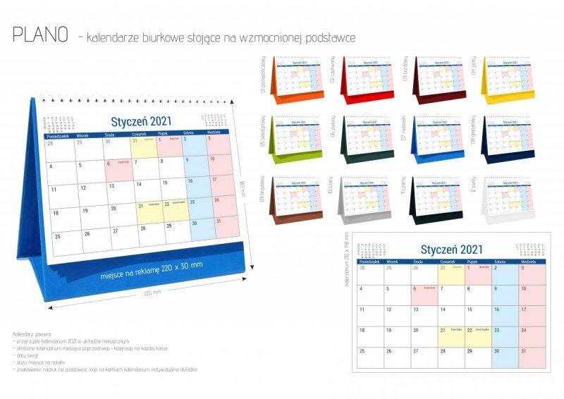 Kalendarz biurkowy stojący na podstawce PLANO 2021