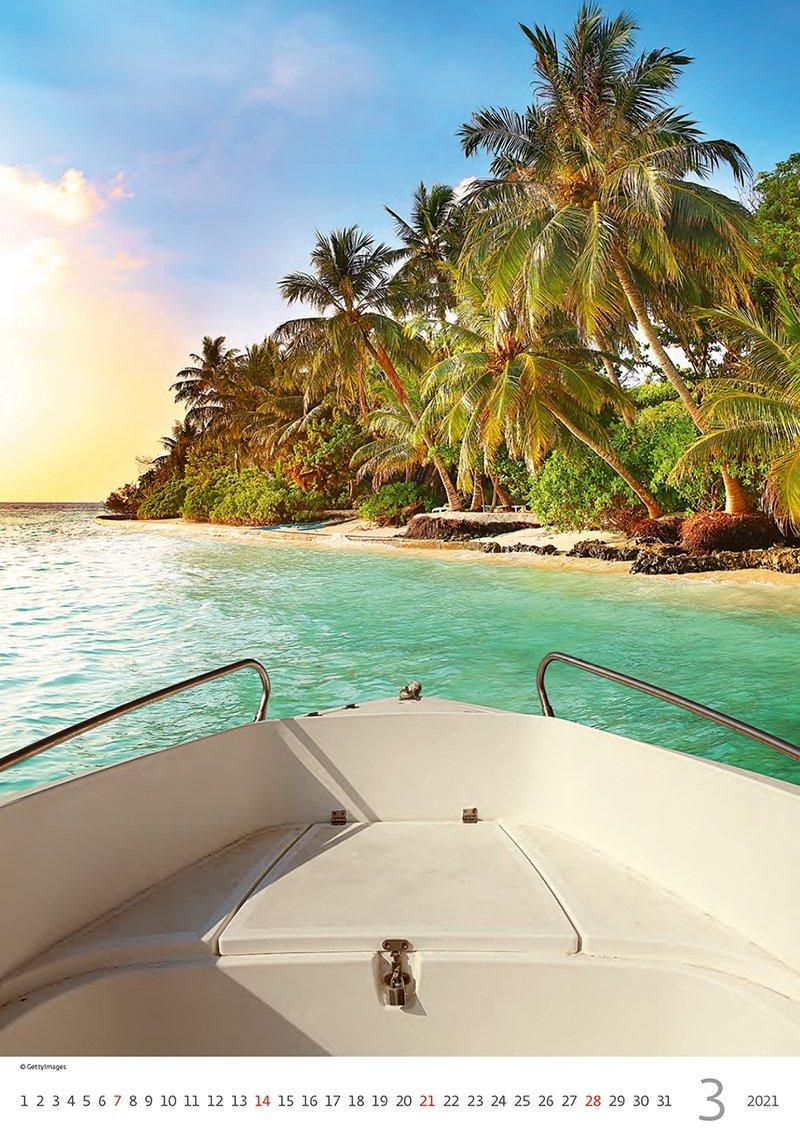Kalendarz ścienny wieloplanszowy Tropical Beaches 2021 - marzec 2021
