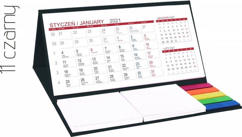 Kalendarz biurkowy z notesami i znacznikami MIDI 3-miesięczny 2021 czarny