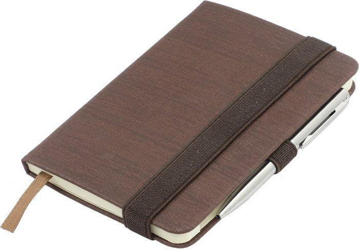 Notes A6 z długopisem zamykany na gumkę - papier chamois w linie oprawa EKOSKÓRA LINEN brązowa (gumka brązowa)