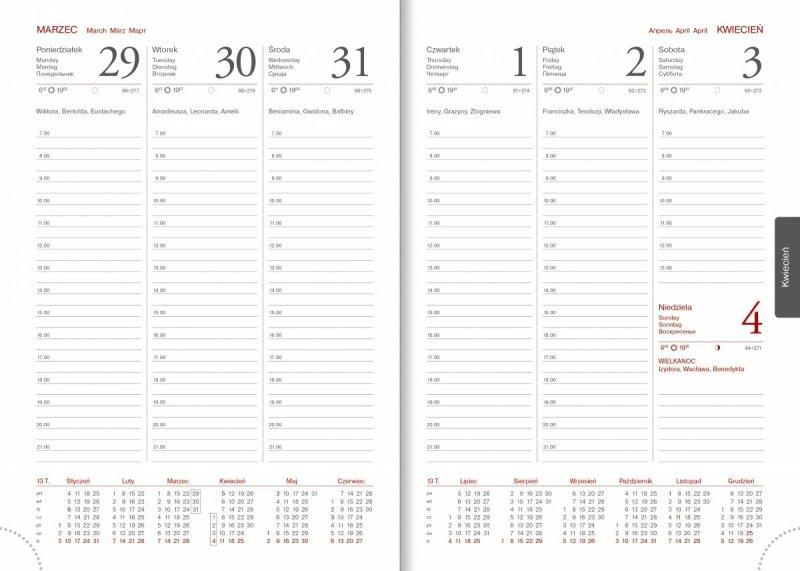 Kalendarz książkowy na rok 2021 A5 tygodniowy papier biały perforacja - kalendarium 2021