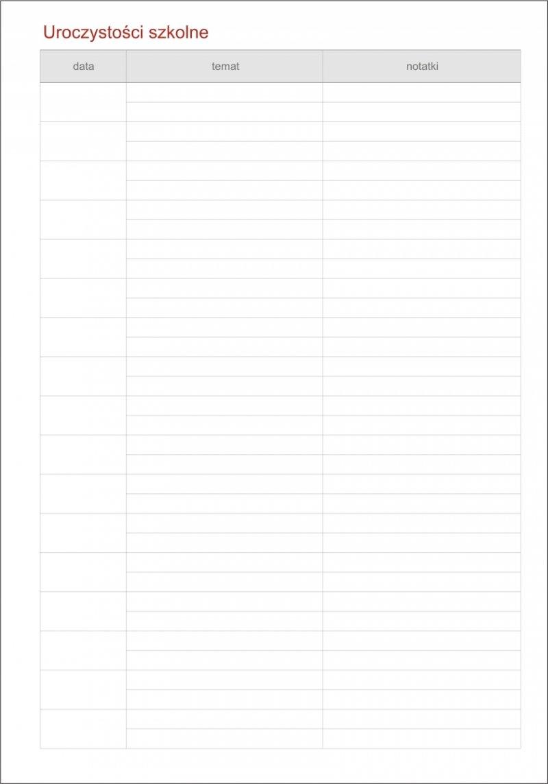 Kalendarz dyrektora - tabela Uroczystości szkolne