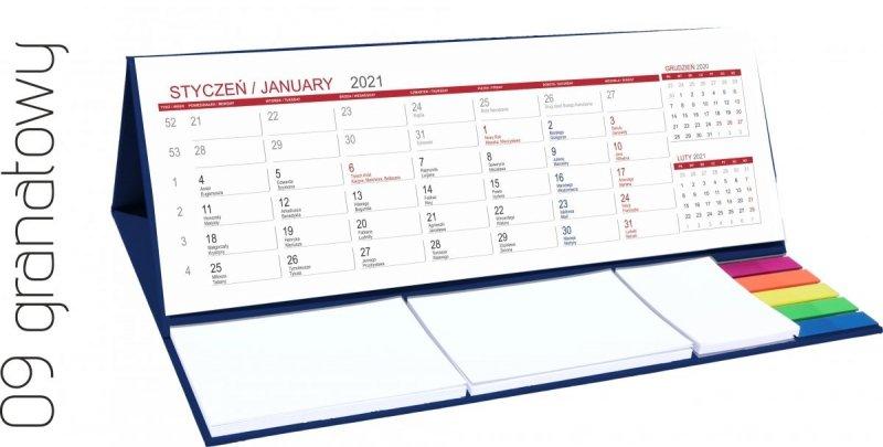 Kalendarz biurkowy z notesami i znacznikami MAXI 2021 granatowy
