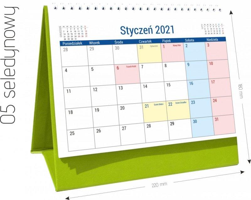 Kalendarz biurkowy stojący na podstawce PLANO 2021 seledynowy 05